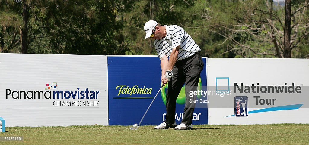 Former champion Tripp Isenhour hits from the 17th tee during Wednesday's Pro-Am of the Movistar Panama Championship held at the Club de Golf de Panama on January 23, 2008 in Panama City, Republica De Panama.