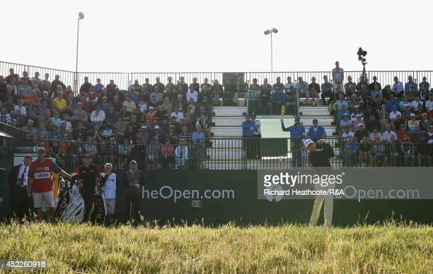 Former champions Paul Lawrie of Scotland, Ben Curtis of the United States and Justin Leonard of the United States on the first tee during the first...
