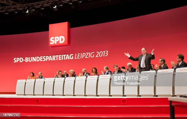 Former Chancellor Candidate Peer Steinbrueck gestures during the German Social Democrats party congress on November 14 2013 in Leipzig Germany