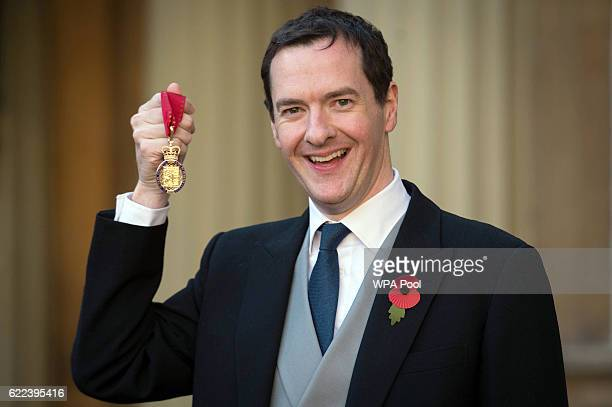 Former Chancellor George Osborne with the Order of the Companions of Honour which he received from the Duke of Cambridge at Buckingham Palace on...