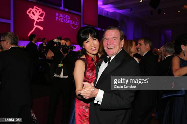 Former Chancellor Gerhard Schroeder and his wife Kim Soyeon Schroeder dance during the 68th Bundespresseball at Hotel Adlon on November 29 2019 in...