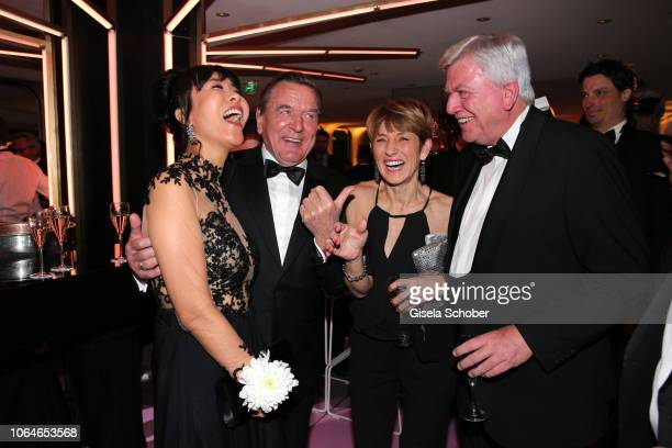 Former Chancellor Gerhard Schroeder and his wife Soyeon SchroederKim Volker Bouffier and his wife Ursula Bouffier during the 67th Bundespresseball at...