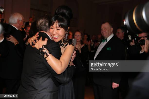 Former Chancellor Gerhard Schroeder and his wife Soyeon Schroeder-Kim dance during the 67th Bundespresseball at Hotel Adlon on November 23, 2018 in...