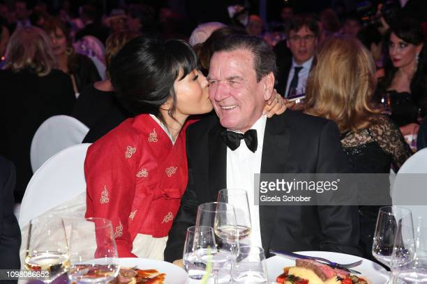 Former Chancellor Gerhard Schroeder and his wife Soyeon SchroederKim during the Cinema for Peace Gala at the Westhafen Event Convention Center on...