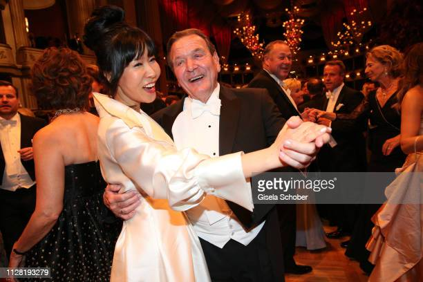 Former Chancellor Gerhard Schroeder and his wife Soyeon SchroederKim dance during the Opera Ball Vienna at Vienna State Opera on February 28 2019 in...