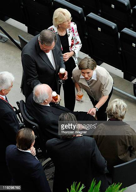 Former Chancellor Helmut Kohl and his wife Maike Richter drink beer prior to the FIFA Womens's World Cup Final between the United States of America...