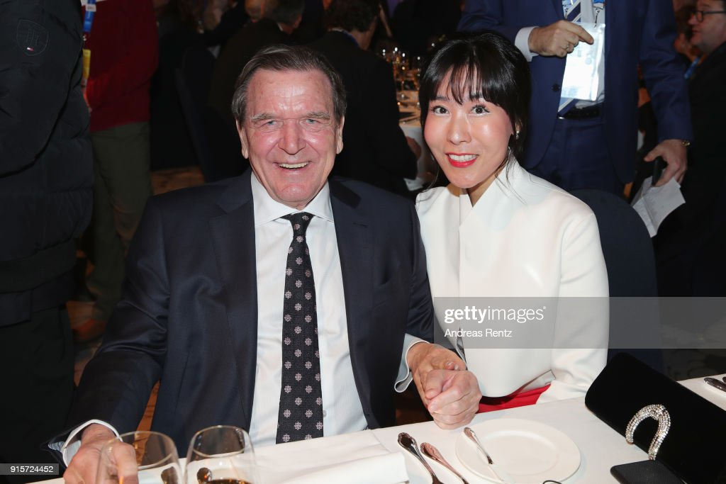 Former Chancellor of Germany Gerhard Schroder and his partner Soyeon Kim attend the IOC President's Dinner ahead of the PyeongChang 2018 Winter Olympic Games on February 8, 2018 in Pyeongchang-gun, South Korea.