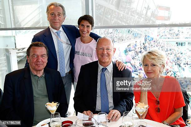 Former Chancellor of Germany Gerhard Schroder Journalists William Leymergie Alessandra Sublet President of France Television Remy Pflimlin and...