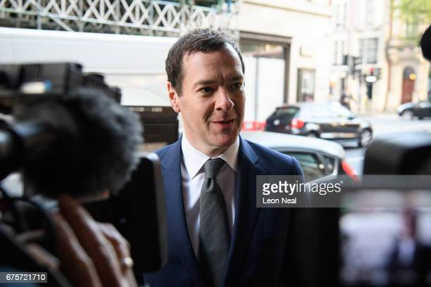 Former Chancellor of the Exchequer George Osborne arrives at the offices of the Evening Standard newspaper on his first official day in the role of...