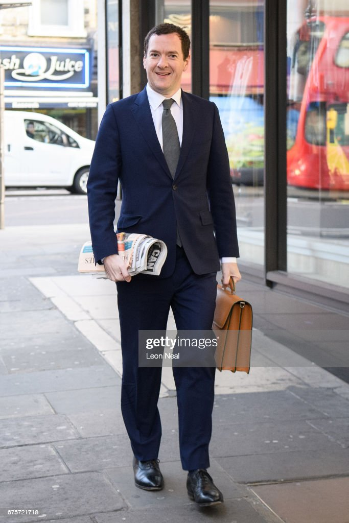 The Former Chancellor George Osborne Arrives At The Evening Standard Newspaper For His First Day As Editor : News Photo