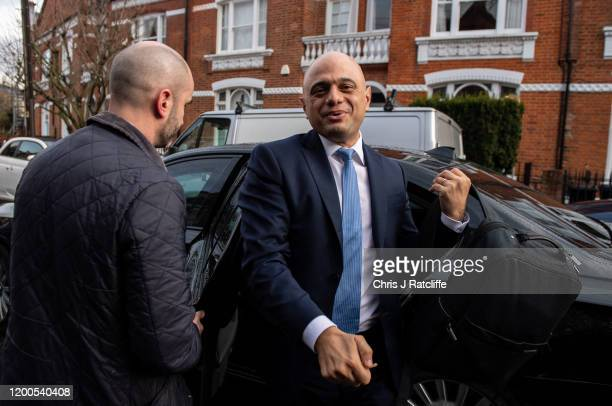 Former Chancellor of the Exchequer Sajid Javid arrives back home after resigning from his post on February 13 2020 in London England Sajid Javid was...