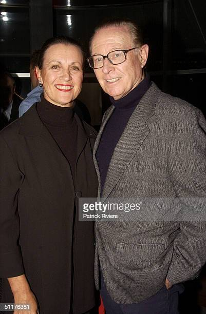 Former Channel Nine Newsreader Brian Henderson with his wife Mardi at TV presenter Mike Munro's 'PastyFaced Nothing' book launch at the Posh Bar in...