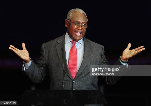 Former Charlotte, North Carolina Mayor Harvey Gantt addresses the crowd during a rally to mark the year-out anniversary of the 2012 Democratic...