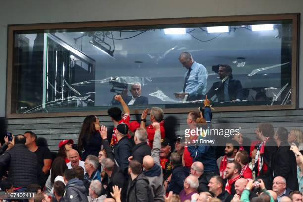Former Chelsea and Manchester United manager Jose Mourinho acknowledges fans from the TV studio during the Premier League match between Manchester...