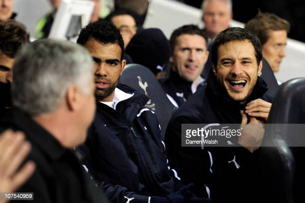 Former Chelsea goalkeeper Carlo Cudicini of Spurs shares a joke with Carlo Ancelotti the Chelsea manager during the Barclays Premier League match...