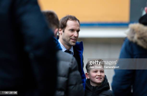 Former Chelsea goalkeeper Petr Cech poses for photos with Hull City fans before the FA Cup Fourth Round match between Hull City and Chelsea at KCOM...