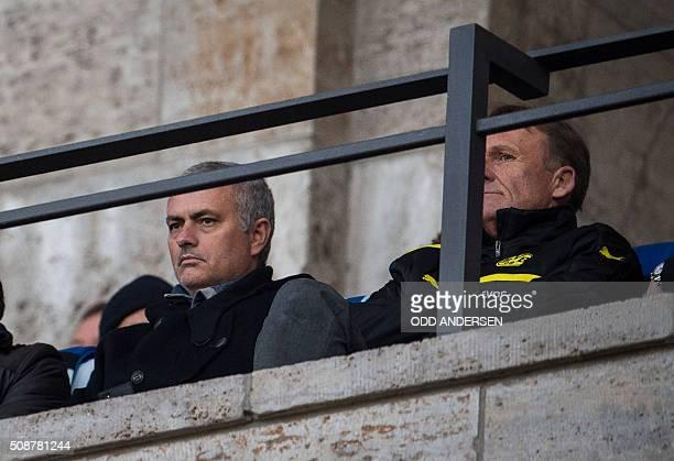 Former Chelsea manager José Mourinho and Dortmund FC's CEO HansJoachim Watzke attends the German first division Bundesliga football match Hertha...