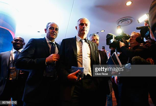 Former Chelsea manager Jose Mourinho attends a press conference by FIFA Presidential candidate Gianni Infantino at Wembley Stadium on February 1 2016...