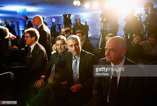 Former Chelsea manager Jose Mourinho attends a press conference by FIFA Presidential candidate Gianni Infantino with Fabio Capello at Wembley Stadium...