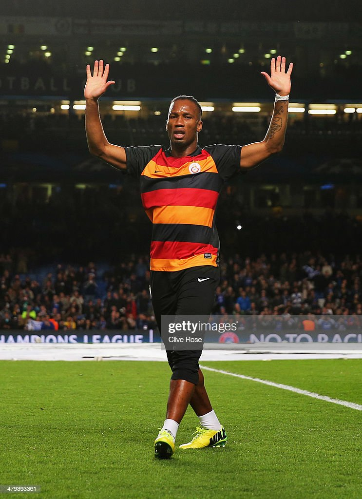 Former Chelsea player Didier Drogba of Galatasaray waves to the crowd prior to the UEFA Champions League Round of 16 second leg match between Chelsea and Galatasaray AS at Stamford Bridge on March 18, 2014 in London, England.