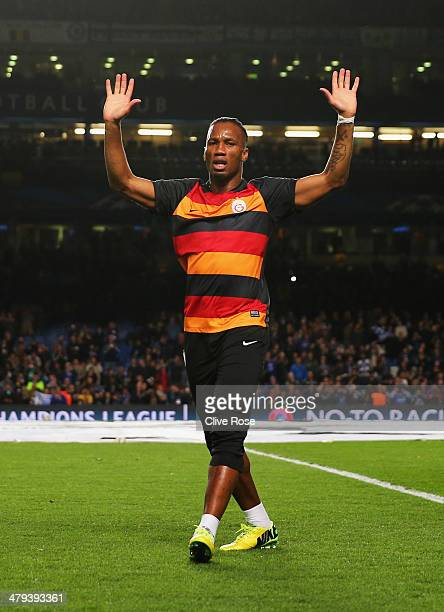 Former Chelsea player Didier Drogba of Galatasaray waves to the crowd prior to the UEFA Champions League Round of 16 second leg match between Chelsea...