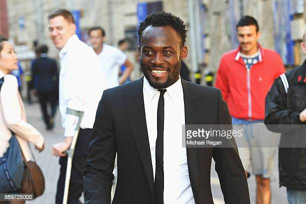 Former Chelsea player Michael Essien arrives for the Premier League match between Chelsea and West Ham United at Stamford Bridge on August 15 2016 in...