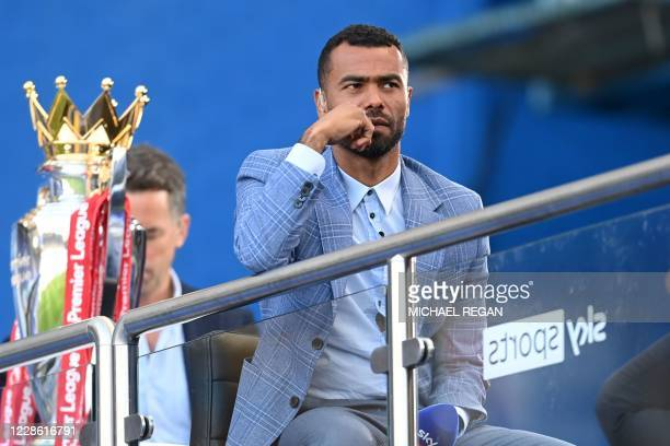 Former Chelsea player television presenter working for Sky Sports Ashley Cole is pictured ahead of the English Premier League football match between...