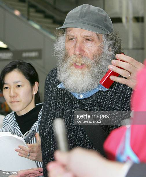 Former chess champion Bobby Fischer speaks to reporters before his departure at New Tokyo International Airport in Narita 24 March 2005 Chess legend...