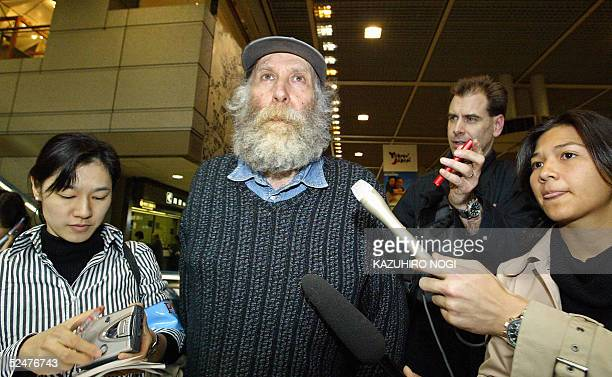 Former chess champion Bobby Fischer speaks to reporters before his departure at New Tokyo Internaitonal Airport 24 March 2005 Chess legend Bobby...