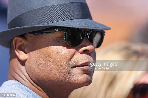 Former Chicago Bear Mike Singletary during pregame warmups before their game against the Buffalo Bills at Soldier Field on September 7 2014 in...
