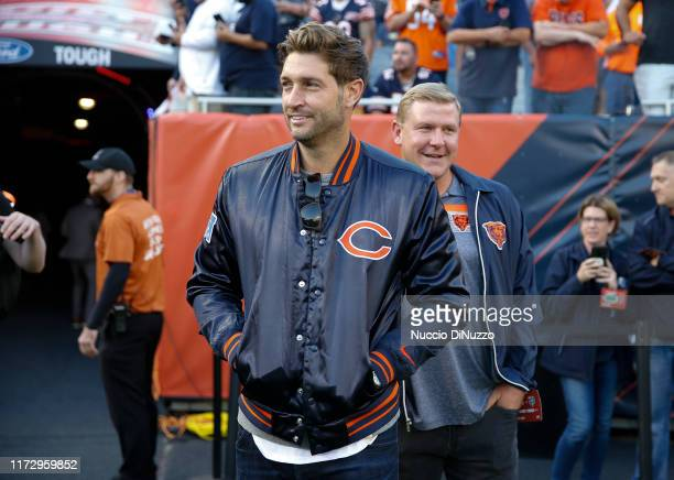 Former Chicago Bears quarterback Jay Cutler stands on the field prior to the game between the Chicago Bears and the Green Bay Packers at Soldier...