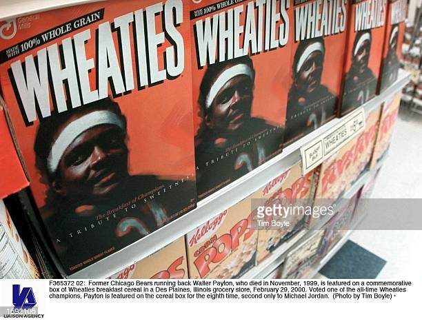 Former Chicago Bears running back Walter Payton who died in November is featured on a commemorative box of Wheaties breakfast cereal in a Des Plaines...