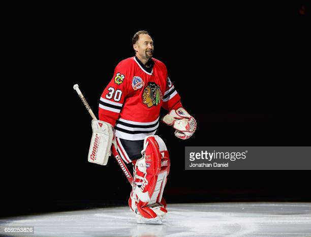 Former Chicago Blackhawks goaltender Ed Belfour is honored before a game against the Dallas Stars at the United Center on March 23 2017 in Chicago...