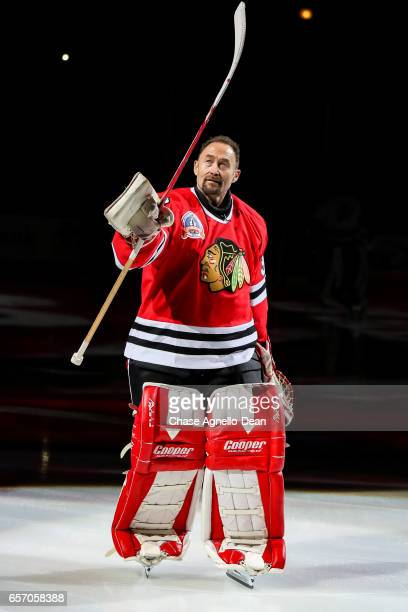 Former Chicago Blackhawks goaltender Ed Belfour is honored during their 'One More Shift' campaign prior to the game between the Chicago Blackhawks...