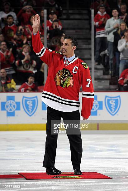 Former Chicago Blackhawks player Chris Chelios is honored before the NHL game between the Chicago Blackhawks and the Detroit Red Wings on December 17...