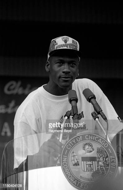 Former Chicago Bulls guard Michael Jordan addresses the crowd during a celebration of the Chicago Bulls' 4th NBA Championship at the Petrillo Music...