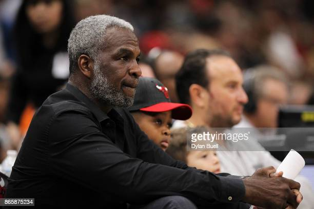 Former Chicago Bulls player Charles Oakley looks on during the game between the Chicago Bulls and San Antonio Spurs at the United Center on October...
