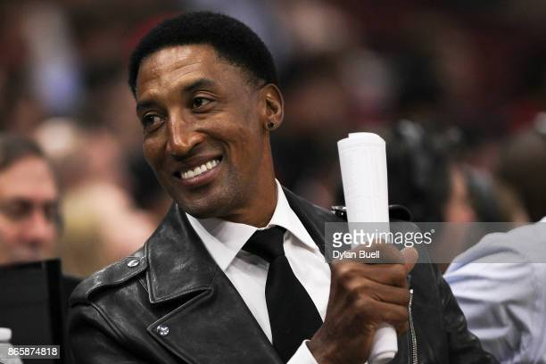 Former Chicago Bulls player Scottie Pippen looks on during the game between the Chicago Bulls and San Antonio Spurs at the United Center on October...