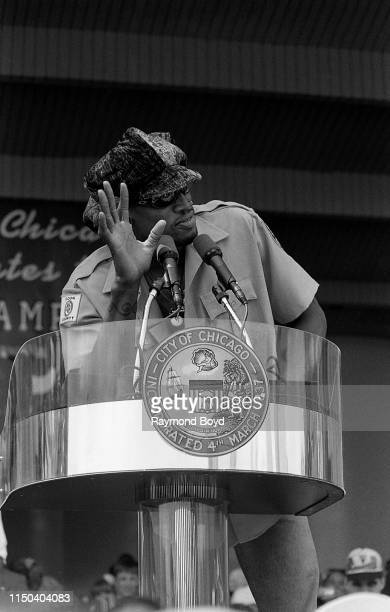 Former Chicago Bulls power forward Dennis Rodman addresses the crowd during a celebration of the Chicago Bulls' 4th NBA Championship at the Petrillo...