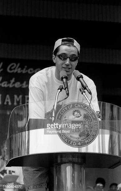 Former Chicago Bulls small forward Toni Kukoc addresses the crowd during a celebration of the Chicago Bulls' 4th NBA Championship at the Petrillo...