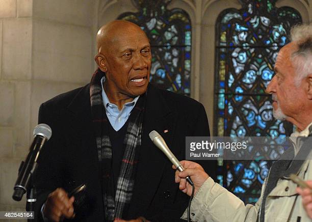 Former Chicago Cub teammate of Ernie Banks MLB Hall of Fame member Fergie Jenkins talks to the media at the visitation for Ernie Banks at Fourth...