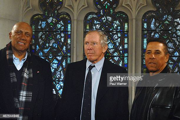 Former Chicago Cubs and teammates of Ernie Banks MLB Hall of Fame member Fergie Jenkins Glenn Beckert and Jose Cardenal attend the visitation for...