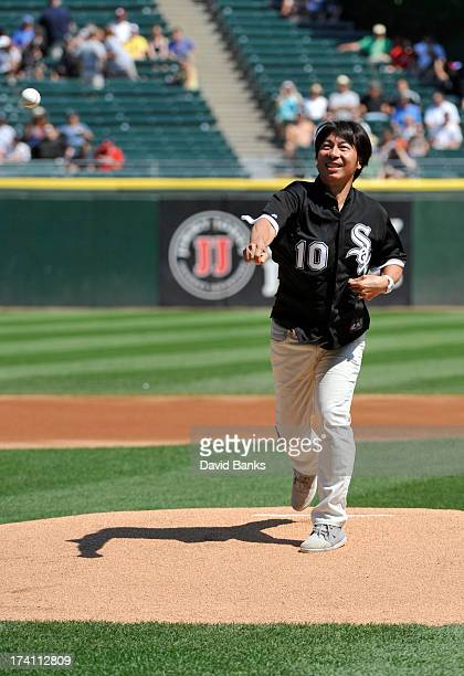 Former Chicago White Sox pitcher Shingo Takatsu throws out the first pitch before the game between the Chicago White Sox and the Atlanta Braves on...