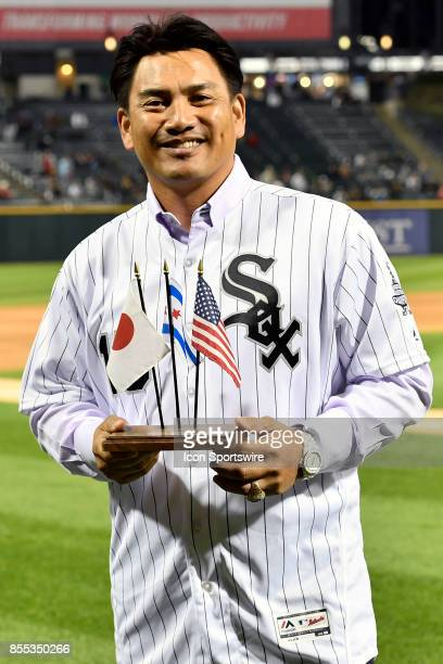 Former Chicago White Sox player Tadahito Iguchi is honored before the game between the Los Angeles Angels and the Chicago White Sox on September 28...