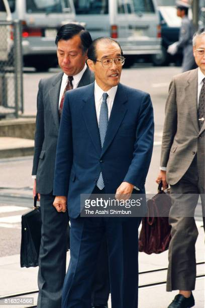 Former Chief Cabinet Secretary Takao Fujinami is seen on arrival at the Tokyo District Court for the verdict of Recruit scandal case on May 20 1994...