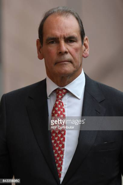 Former chief constable Norman Bettison leaves from court in Preston on September 6 2017 Five men charged over the Hillsborough football stadium...