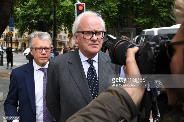 Former Chief Executive of Barclays John Varley leaves after an appearance at Westminster Magistrates Court in central London on July 3 2017 Barclays...