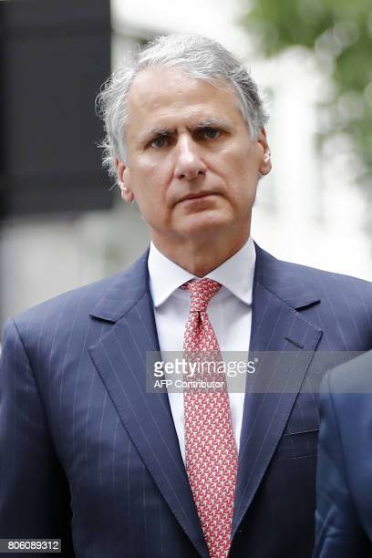 Former Chief Executive of Barclays Wealth Thomas Kalaris arrives at Westminster Magistrates Court in central London on July 3 2017 Barclays bank and...