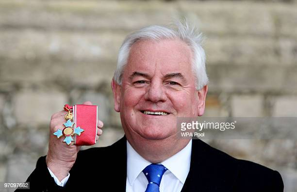 Former chief executive of HSBC Dyfrig John after receiving the CBE from Queen Elizabeth II at Windsor Castle on February 26 2010 in Windsor England