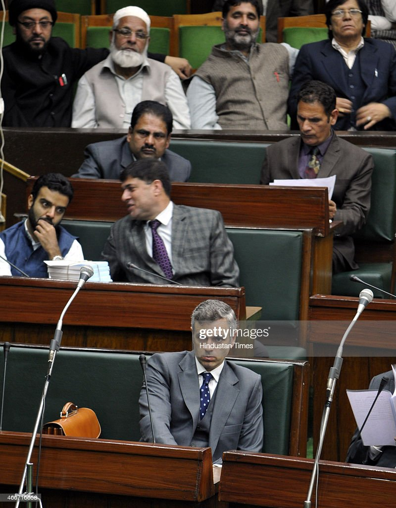Former Chief Minister and National Conference working President Omar Abdullah during first day of budget session of Jammu and Kashmir legislator assembly on March 18, 2015 in Jammu, India. In his address to the Assembly Governor NN Vohra said that the PDP-BJP coalition government will initiate a meaningful dialogue with all political groups including the Hurriyat Conference and examine the need for de-notifying disturbed areas in Jammu and Kashmir.